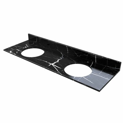 61 Double Bathroom Vanity Top Top Finish: Blue Stone Marble