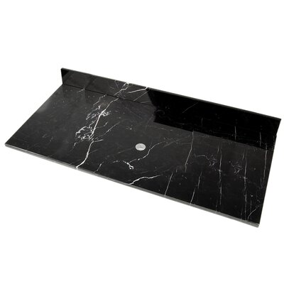 49 Single Bathroom Vanity Top Top Finish: Black Marquine Marble