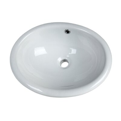 White China Vitreous China Oval Undermount Bathroom Sink with Overflow