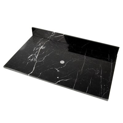 37 Single Bathroom Vanity Top Top Finish: Black Marquine Marble