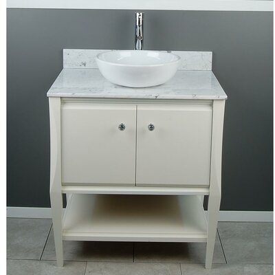 Sahara 31 Single Vanity Set Top Finish: Carrera White Marble
