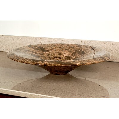 Natural Stone Sinks Stone Circular Vessel Bathroom Sink Sink Finish: Black Marquine