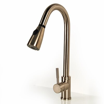 Green Pull Down Single Handle Kitchen Faucet Finish: Satin Nickel