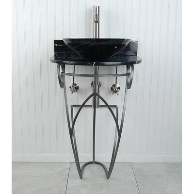 Victoria Sphere Metal 22 Pedestal Bathroom Sink Sink Finish: Black Marquine