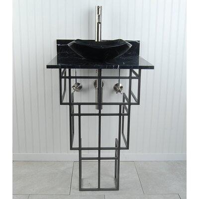 Mission Metal 22 Pedestal Bathroom Sink Sink Finish: Black Marquine