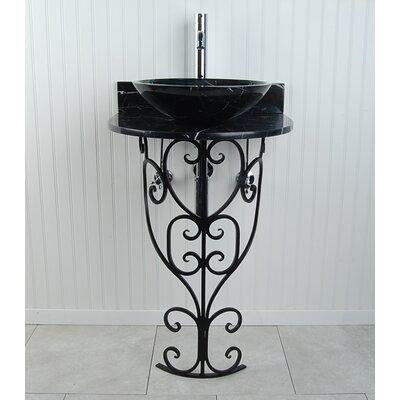 Monterrey Sphere 22 Pedestal Bathroom Sink Sink Finish: Black Marquine