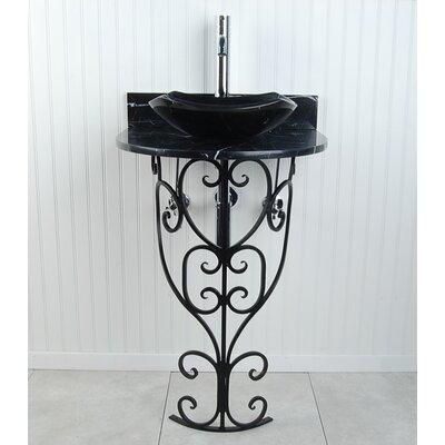 Monterrey Fong 22 Pedestal Bathroom Sink Sink Finish: Black Marquine