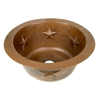 Copper 16 x 16 Round Texas Star Embossed Bar Sink Finish: Shiny Copper
