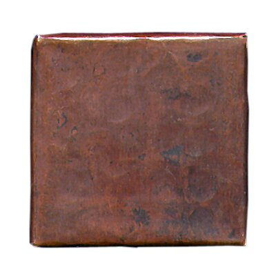 Plain Hammered 2 x 2 Copper Border Tile in Dark Copper