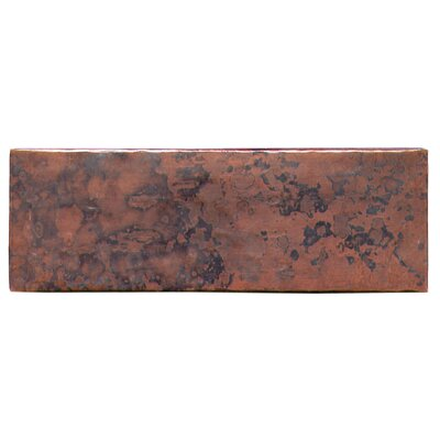 Plain Hammered 6 x 2 Copper Border Tile in Dark Copper