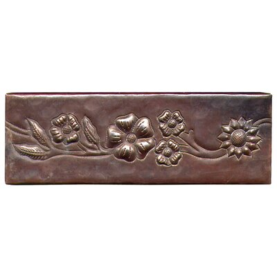 Multi-Flower Band 6 x 2 Copper Border Tile in Dark Copper