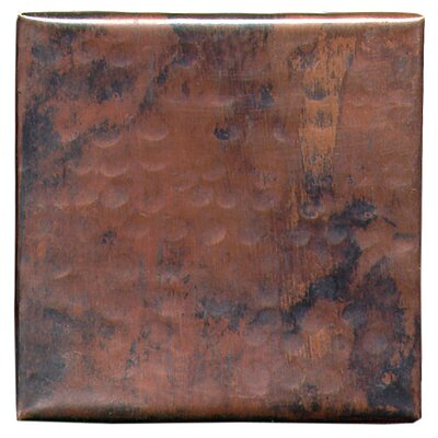 Plain Hammered 4 x 4 Copper Tile in Dark Copper