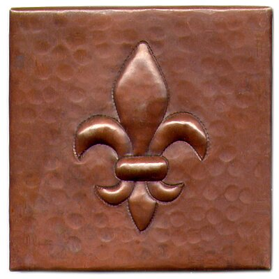 Fleur De Lis 4 x 4 Copper Tile in Dark Copper