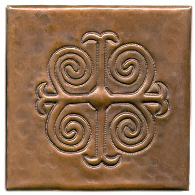 Spanish Cross 4 x 4 Copper Tile in Dark Copper