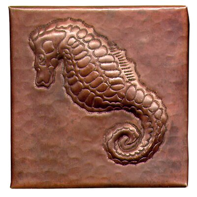 Sea Horse 4 x 4 Copper Tile in Dark Copper