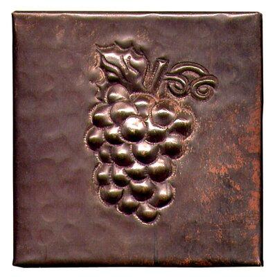 Grapes 4 x 4 Copper Tile in Dark Copper