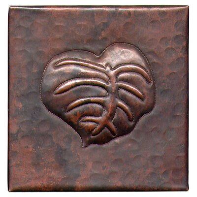 Banana Leaf 4 x 4 Copper Tile in Dark Copper
