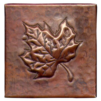 Maple Leaf 4 x 4 Copper Tile in Dark Copper