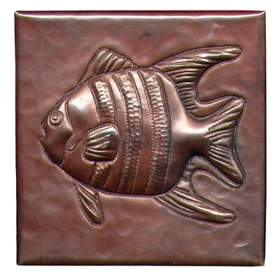 Angel Fish 4 x 4 Copper Tile in Dark Copper