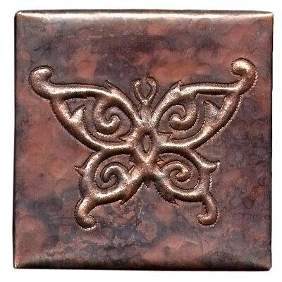 Butterfly 4 x 4 Copper Tile in Dark Copper