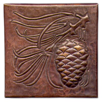 Pine Cone Large 4 x 4 Copper Tile in Dark Copper