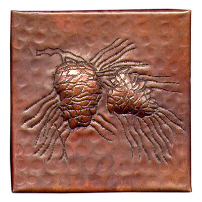Pine Cone Small 4 x 4 Copper Tile in Dark Copper