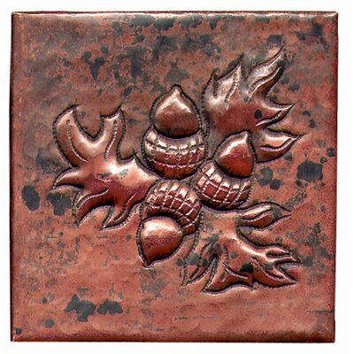 Acorn Bushel 4 x 4 Copper Tile in Dark Copper
