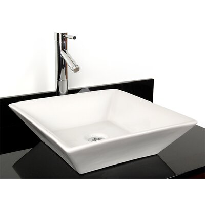 Barbados China Square Vessel Bathroom Sink Color: White