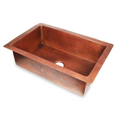 Copper 30 x 22 Hammered Single Bowl Kitchen Sink Finish: Dark Smoke Copper