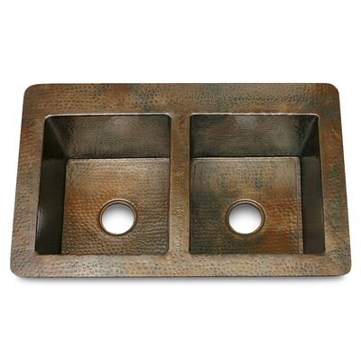 Copper 36 x 22 Double Bowl 50/50 Hammered Kitchen Sink Finish: Dark Smoke Copper
