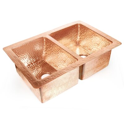 Copper 36 x 22 Double Bowl 50/50 Hammered Kitchen Sink Finish: Shiny Copper