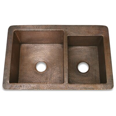 Copper 33 x 22 Hammered 60/40 Kitchen Sink Finish: Polished Nickel