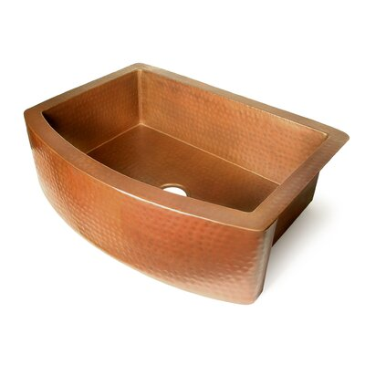Copper 36 x 22 Single Bowl Curved Front Farmhouse Kitchen Sink Finish: Dark Smoke Copper