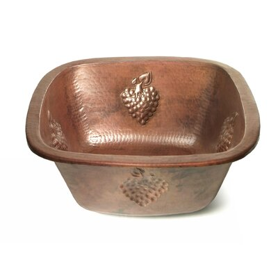 Copper 15 x 15 Square  Bar Sink with Grape Relief Finish: Dark Smoke Copper