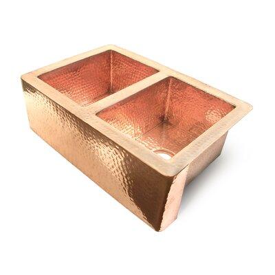 Copper 33 x 22 50/50 Well Farmhouse Kitchen Sink Finish: Shiny Copper
