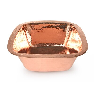 Copper 15 x 15 Plain Hammered Square Bar Sink Finish: Shiny Copper