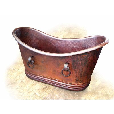 Isabella Copper 67 x 31 Small Slipper Tub with Rings Finish: Dark Smoke Copper, Drain Location: Left