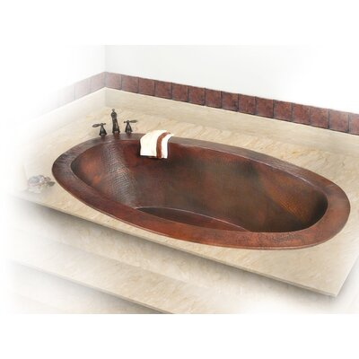 Roberta Copper 71 x 37 Large Self-Rimming or Undermount Bathtub Finish: Dark Smoke Copper, Drain Location: Left, Overflow Location: Center