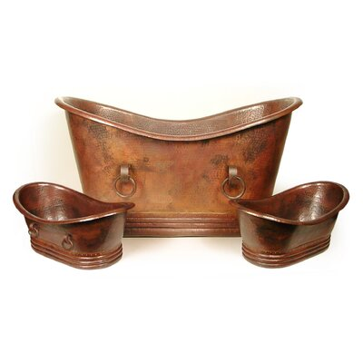 Isabella Copper 71 x 37 Large Slipper Tub with Rings Finish: Shiny Copper, Drain Location: Right