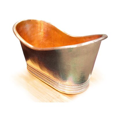 Juliana Copper 71 x 37 Large Slipper Tub Finish: Shiny Copper, Drain Location: End, Overflow Location: Center