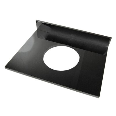 25 Single Bathroom Vanity Top Top Finish: Shanxi Black Granite, Faucet Mount: 4 Spread