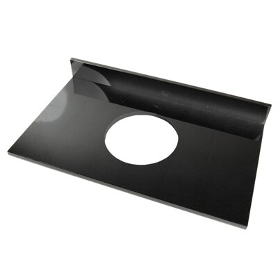 37 Single Bathroom Vanity Top Top Finish: Black Marquine, Faucet Mount: Single Hole