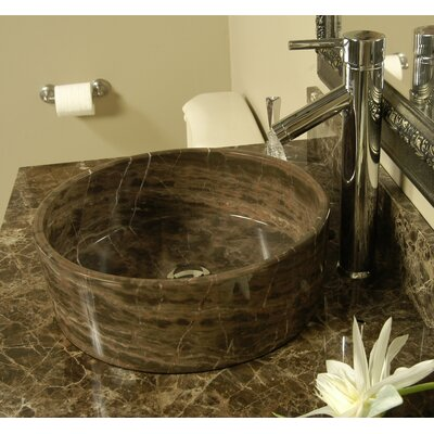 Natural Stone Sinks Stone Circular Vessel Bathroom Sink Sink Finish: Dark Emperadore Marble