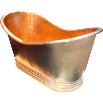 Juliana Copper 71 x 37 Large Slipper Tub Finish: Shiny Copper, Drain Location: Left, Overflow Location: End
