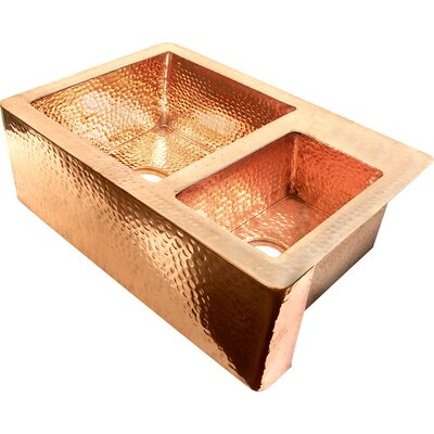 Copper 36 x 22 60/40 Double Bowl Farmhouse Kitchen Sink Finish: Shiny Copper