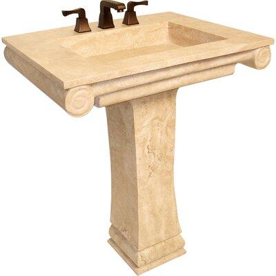 Natural Stone Sinks Stone 30 Pedestal Bathroom Sink Sink Finish: Beige Travertine