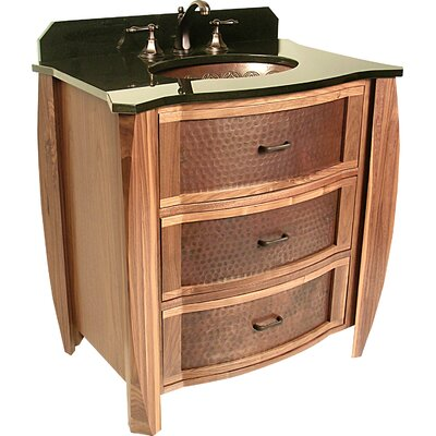 Vanities 32 Single Bombay Copper Front Cabinet Bathroom Vanity Set Sink Finish: Tortoise Shell Oval Copper Undermount Sink, Top Finish: Shanxi Black Granite