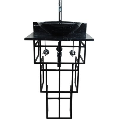 Mission Metal 22 Pedestal Bathroom Sink Sink Finish: Black Marquine
