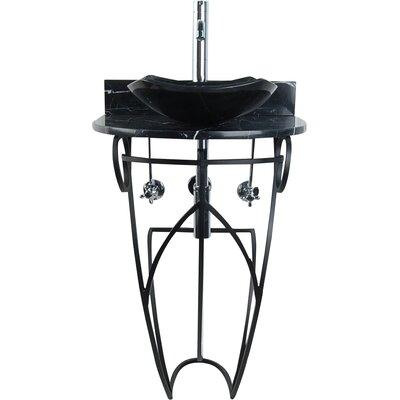 Victoria Fong Metal 22 Pedestal Bathroom Sink Sink Finish: Black Marquine
