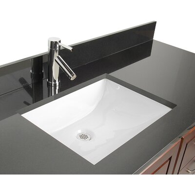 Ceramic Rectangular Undermount Bathroom Sink with Overflow Color: White